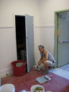 Me painting some doors at school in the Lower Ninth Ward.