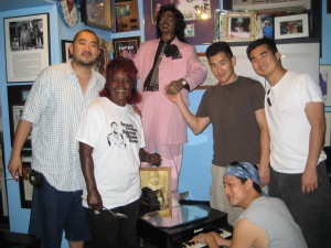 Some of the fellas with Miss Antoinette and Ernie K-Doe's statute.
