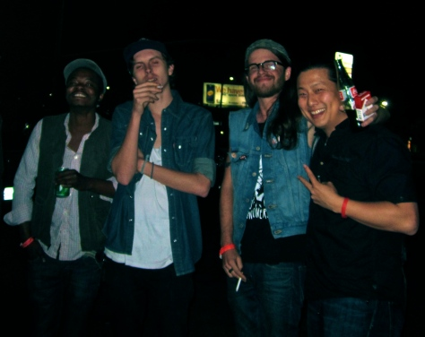 Getting late night tacos with Alex Collier (keys), Damien Bone (bass) and Sam Williams (guitar).