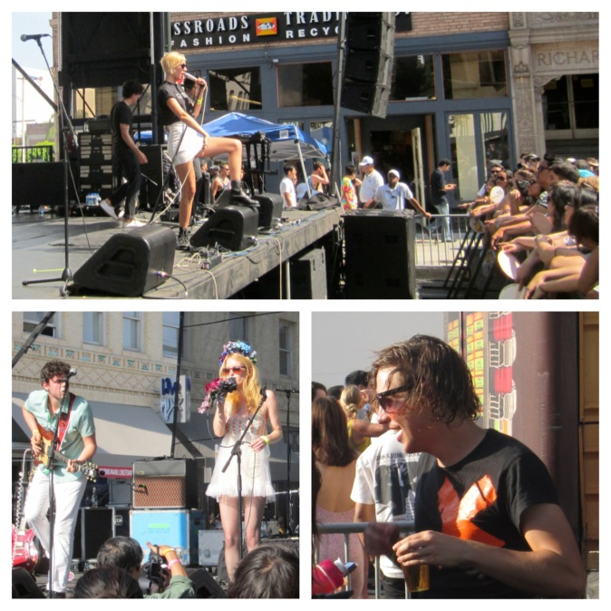 Top clockwise: YACHT, Robert DeLong (touching and taking pictures with his fans) and The Peach Kings.