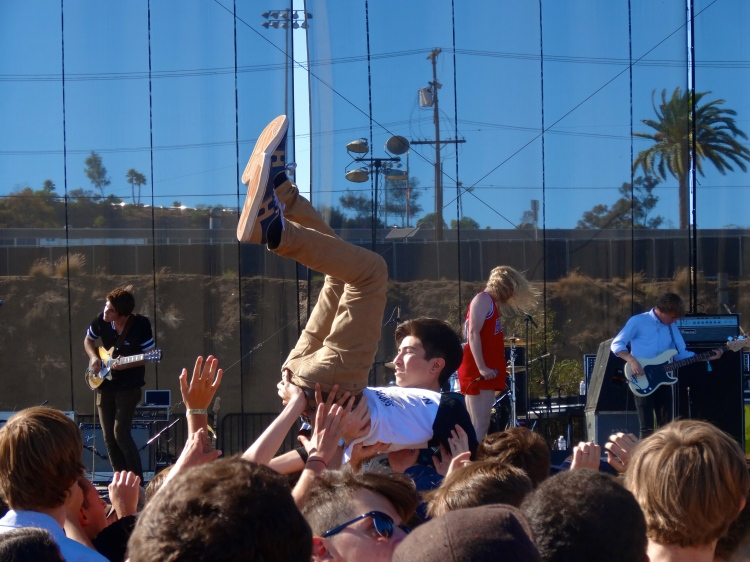 Crowd surfing during The Orwells set.