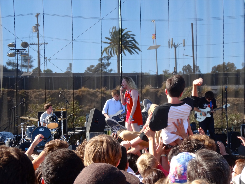 Crowd surfing during The Orwells.