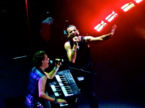 Martin Gore and Dave Gahan of Depeche Mode performing at the Staples Center 9/29/13