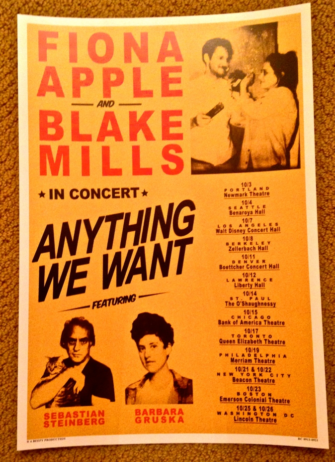 Fiona Apple and Blake Mills tour poster.