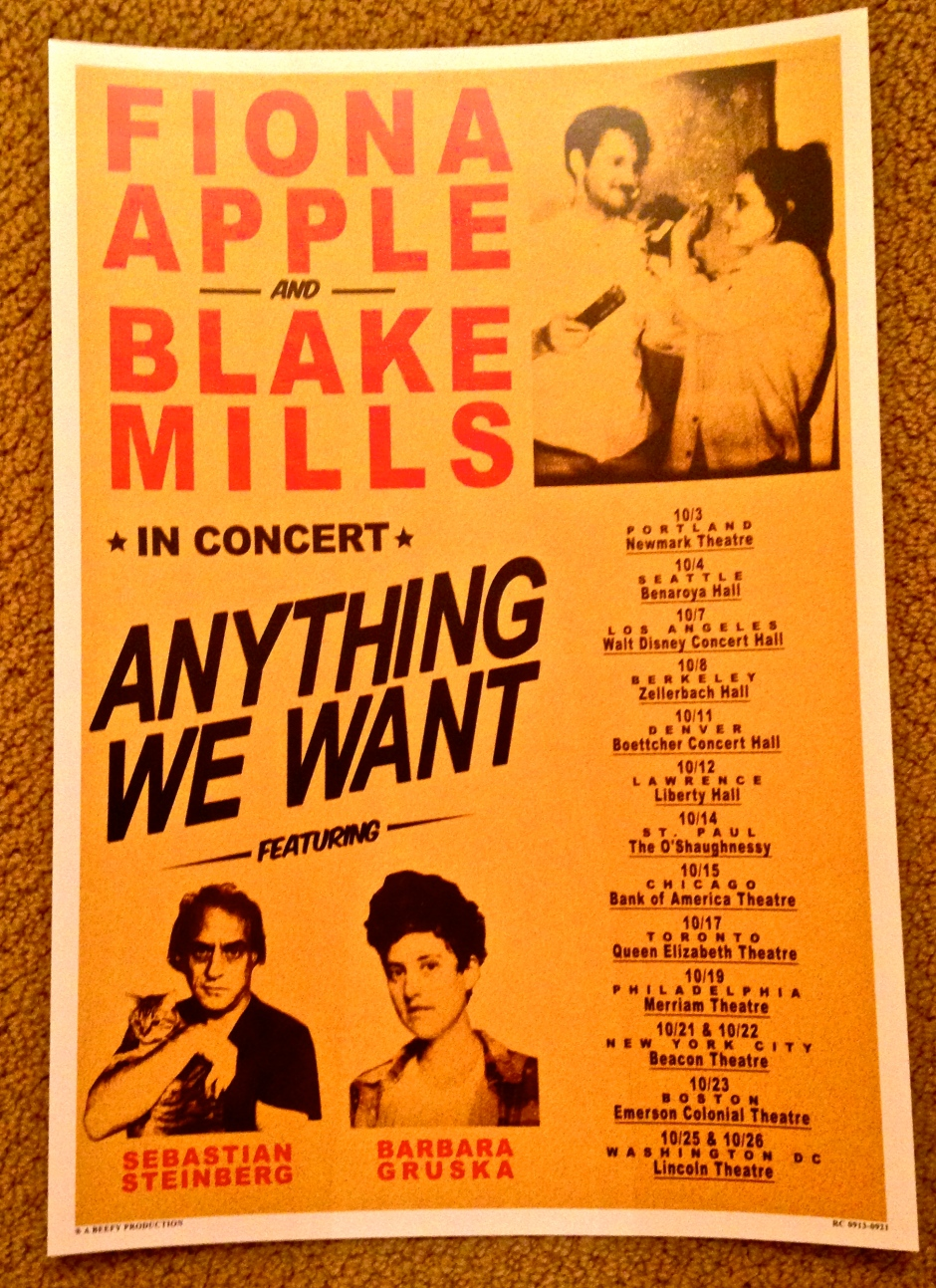 Fiona Apple and Blake Mills tour poster.