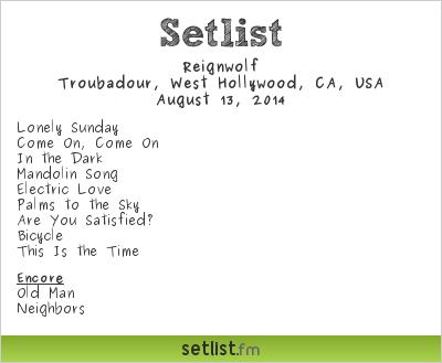 Reignwolf Setlist