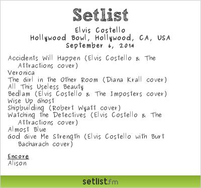 Elvis Costello | Hollywood Bowl | Setlist