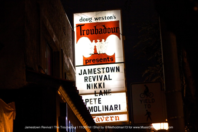 Jamestown Revival, Nikki Lane & Pete Molinari | The Troubadour | 11/30/14 [Concert Review]