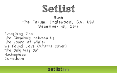 Bush | Setlist | KROQ Almost Acoustic Christmas