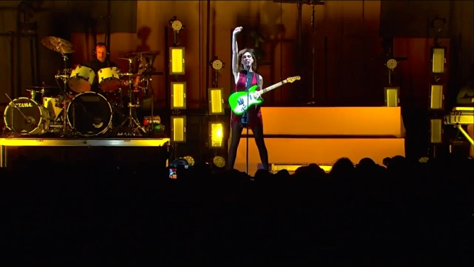 St. Vincent   Coachella  4/12/15   iPhone5 Screen Shot of Weekend 1 Live Stream Un-Leashed by T-Mobile